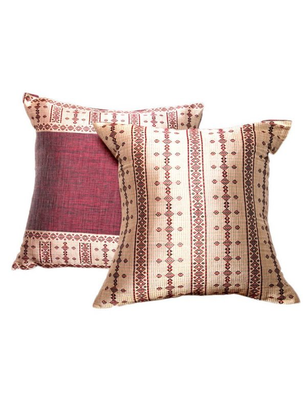 Set of Pillows:  Burgundy with Straw and Ash Black